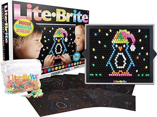 Basic Fun Lite-Brite Ultimate Value Retro Toy, Bigger and Brighter Screen, More Pegs and Templates, Storage Pouch, Gi...