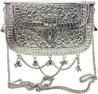 Trend Overseas Silver Metal tassels clutches Antique Ethnic Handmade Brass purse bridal women party clutch
