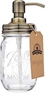 Jarmazing Products Mason Jar Soap Dispenser - Brass - with 16 Ounce Ball Mason Jar - Made from Rust Proof Stainless Steel