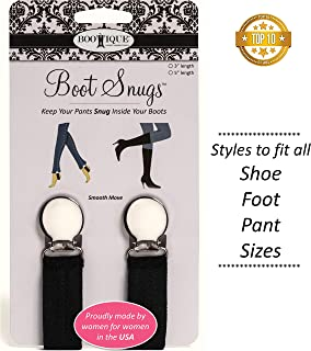 """The Original Boot Clips, Boot Straps - Boot Snugs Pant Clips, Pant Stirrups for Smooth Jeans (Black-3"""")"""