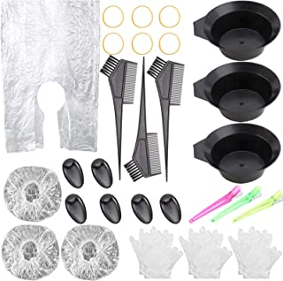 33 Pcs Hair Dye Kit, Hair Color Brush Comb and Bowl Set - Ear Cover, Cape, Gloves Hair Bleaching Tinting Tools