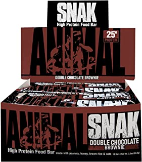 Animal Snak - High Protein, Whole Food Meal Bar - Made with Real Foods and Easily digestable - Double Chocolate Brownie - 12 Bars