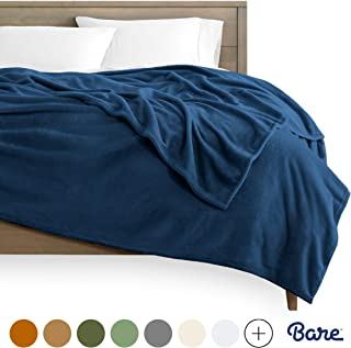 Bare Home Kids Microplush Fleece Blanket - Throw/Travel - Ultra-Soft Velvet - Luxurious Fuzzy Fleece Fur - Cozy Lightweight - Easy Care - All Season Premium Bed Blanket (Throw/Travel, Dark Blue)