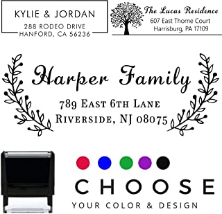 20 Designs to Choose!! Personalized - Address Stamp - Customized Stamp - Self-Inking Return Address Mail 3 Lines Custom Address Stamper - Black Red Blue Purple Green Ink - Wedding Invitation Stamp