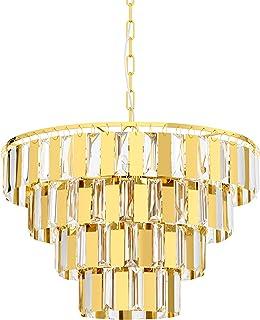 EGLO Lámpara colgante Erseka, 7 focos, lámpara colgante moderna, elegante, de acero en latón y cristal transparente, lámpara de comedor, lámpara colgante con casquillo E14, diámetro 48,5 cm
