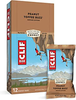 CLIF BARS - Energy Bars - Peanut Toffee Buzz - With Caffeine - Made with Organic Oats - Plant Based Food - Vegetarian - Ko...