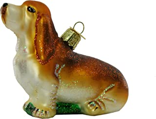 Old World Christmas Begging Basset Glass Blown Ornament
