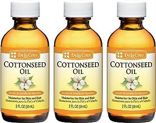 De La Cruz Cottonseed Oil, No Parabens, Colors or Fragrances, Bottled in USA 2 FL OZ (3 Bottles)
