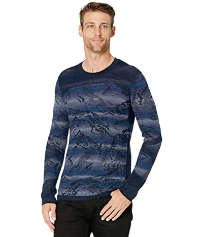 Smartwool Intraknit Merino 200 Pattern Crew (Deep Navy Mountain Stripe) Men