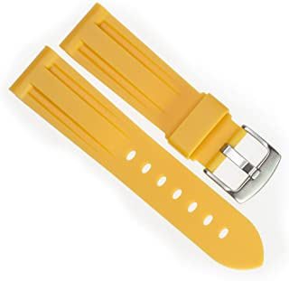 New 24mm Soft Rubber Strap Yellow Diver Watch Band fits PANERAI with Brush Stainless Buckle