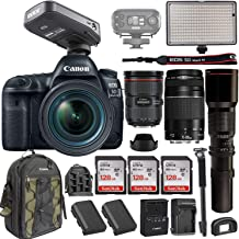 Canon EOS 5D Mark IV DSLR w/EF 24-70mm f/2.8L II USM Lens + EF 75-300mm+ RODELink Filmmaker Kit Wireless Omni Lavalier Microphone System + Professional Bi-Color LED Video Light & Accessories