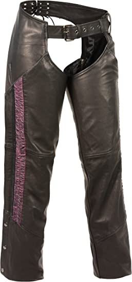 Milwaukee Leather Womens Hip Set Pocket Chap with Crinkled Leg Striping Black//Black, XXX-Small