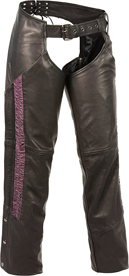 Black//Fuchsia, X-Small Milwaukee Leather Womens Lightweight Chap with Crinkled Leg Striping