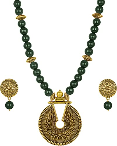 Gold Plated Floral Onyx Stone Necklace Set for Women