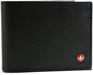 RFID SAFE Alpine Swiss Mens Leather Wallet Hybrid Bifold with Flipout ID