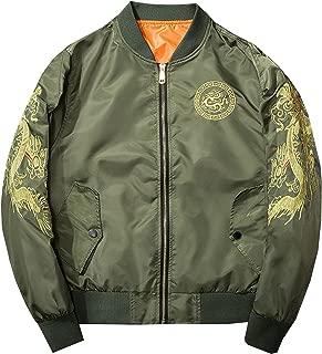Men's Fashion Chinese Dragon Embroidered Totem Bomber Jacket Windbreaker Moto Flight Jacket