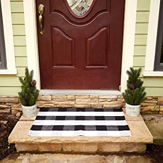 Buffalo Plaid Rug - Black and White Check Door Mat Outdoor - Farmhouse Rugs for Kitchen/Bathroom/Front Porch/Decor - Layered Welcome Doormats - Checkered Flannel Cotton Entry Way Layering Mats 24
