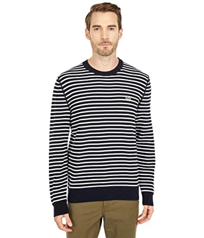 Lacoste Long Sleeve Striped Crew Neck Sweater (Abysm/Flour) Men