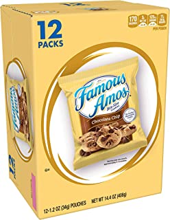 Famous Amos, Bite-Size Cookies, Chocolate Chip, Grab 'N' Go, 14.4oz Box (12 Pack)