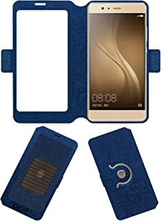 Acm SVIEW Window Designer Rotating Flip Case Compatible with Akshat Rivo Rhythm Rx550 Phablet Mobile Smart View Cover Stand Blue