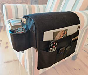 CupComfort Sofa Armrest Organizer with a Cup Holder V3 - Anti Slip Couch Organizer with Caddy - Good for Recliners with Flat Down Armrest - Organizer with 5 Pockets (6 Inches)