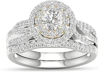 Diamond Double Row Round Frame Twist Bridal Set in 14 k Two-Tone Gold 1ct with IGI Certification (I-J, I2)