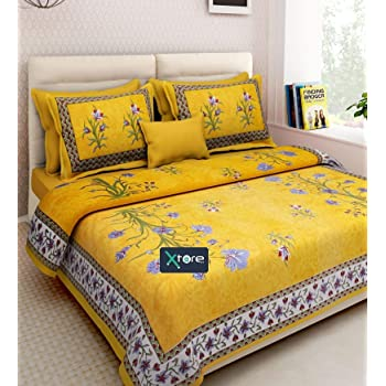 Xtore ® Traditional Jaipuri Print King Size Cotton Bed Sheet with 2 Pillow Covers