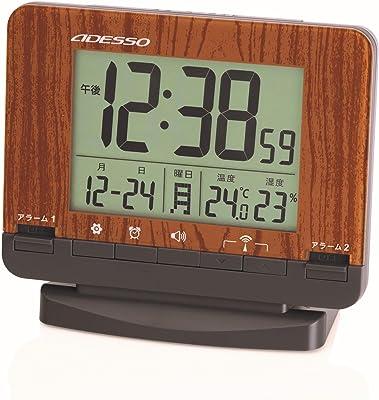 ADESSO(アデッソ) 目覚まし時計 電波 ダブルアラーム 温度 湿度 日付表示 ブラウン AJ-75