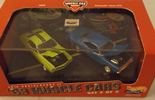Hot Wheels Collectibles AMX & Plymouth Hemi GTX set with display case