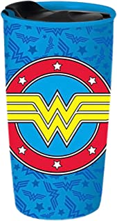 Silver Buffalo WW12243R DC Comics Wonder Woman Logo Tossed Ceramic Travel Mug, 16-Ounces, Multicolor
