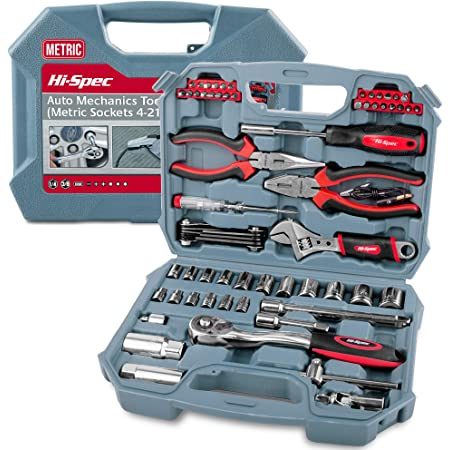 Hi-Spec Tools 67 Piece Auto Mechanics Tool Kit Set with Metric Sockets. Car, Bike & Vehicle DIY Hand Tools for Repair & Maintenance. Complete in a Carry Case