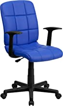 Flash Furniture Mid-Back Blue Quilted Vinyl Swivel Task Office Chair with Arms - GO-1691-1-BLUE-A-GG