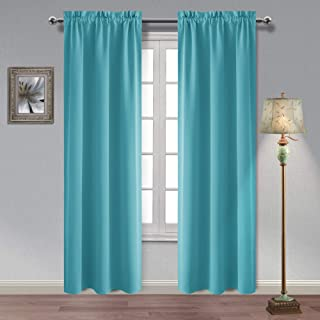 Hiasan Thermal Insulated Blackout Curtains 84 Inches Long Sun Blocking and Energy Efficient Room Darkening Window Curtains for Living Room and Bedroom, Turquoise, 2 Panels