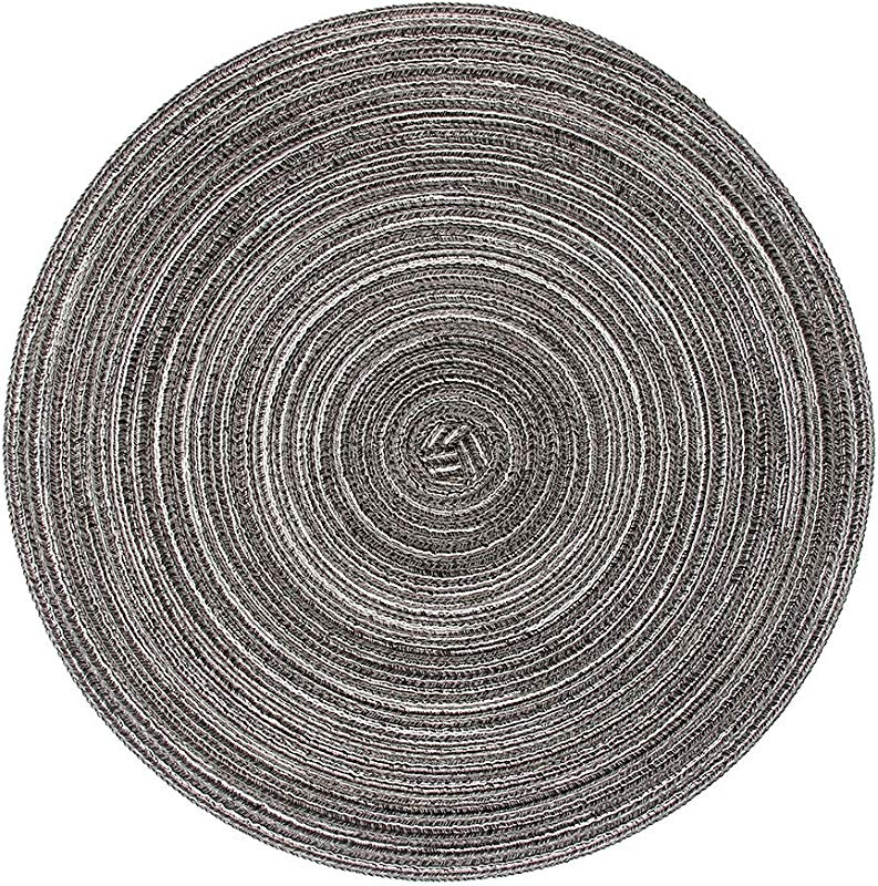 LOHAS Home Round Place Mats Pack Of 6 Table Mats Set Dark Grey