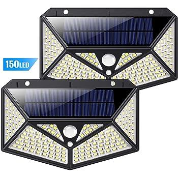 Lampe Solaire Extérieur 150 LED 2 Pack, kilponen【Version Innovante 2200mAh】éclairage Solaire Extérieur avec Détecteur de Mouvement Puissante étanche Spot Solaire sans Fil Lumière Sécurité pour Jardin