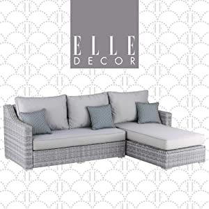 Elle Decor Vallauris Patio Outdoor Furniture Collection Premium All Weather Wicker, Storage Sectional, Gray