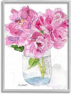 Stupell Industries Pink Peonies in Classic Canning Jar, Design by Melissa Hyatt LLC Grey Framed Wall Art, 11 x 14
