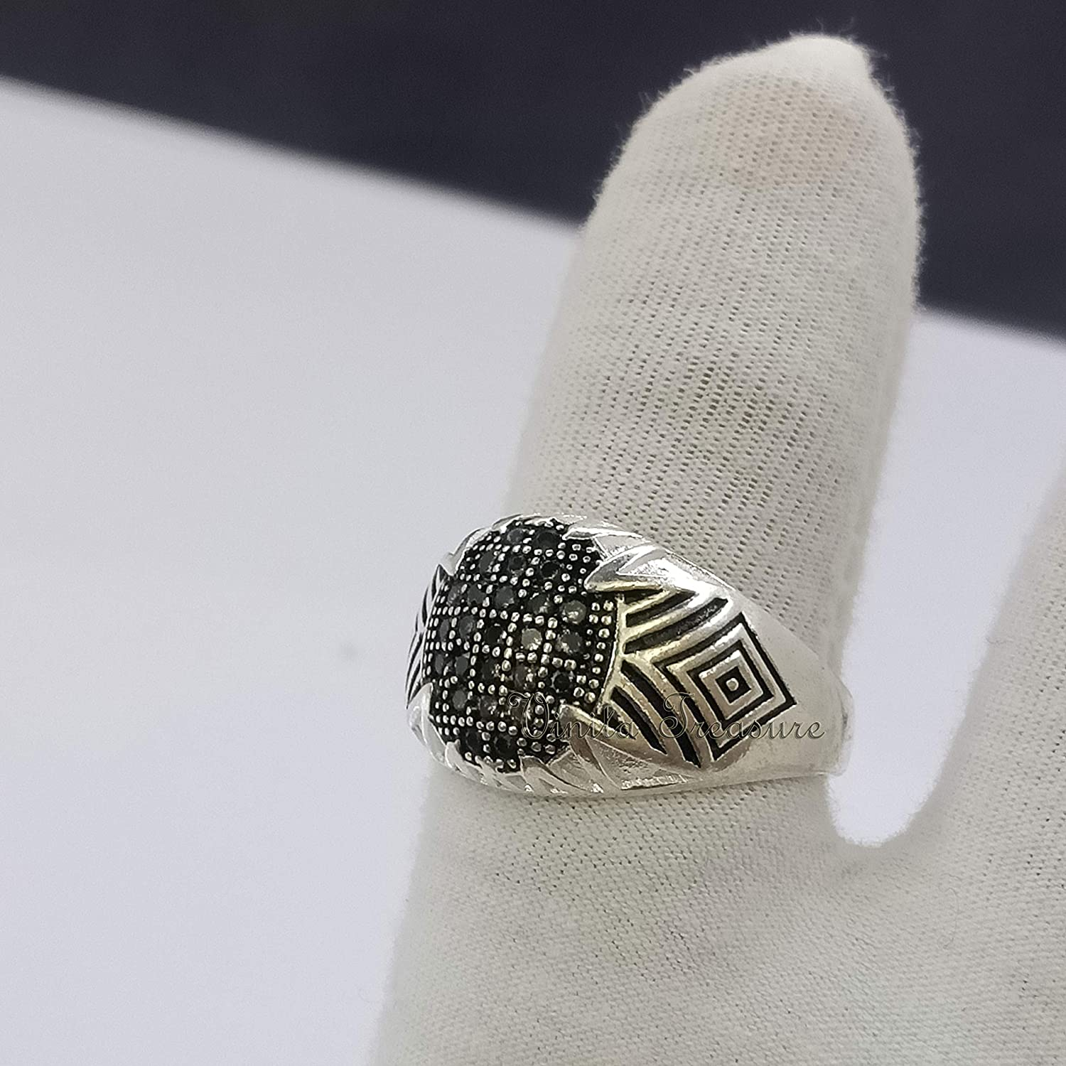 New sales Mens Zircon Ring 92.5 with Silver St Sterling Free shipping anywhere in the nation