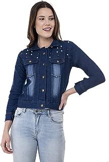MONTREZ Women's Stone Wash Denim Jacket Crafted with Pearls
