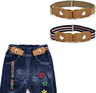 BiBest No Buckle Kids Elastic Free Belts for Toddlers, Pack of 2 Adjustable Stretch Belts for Boys and Girls