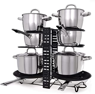 GRANNY SAYS Cookware Rack Organizer with 3 DIY Methods, 8 Adjustable Dividers, Pan/Pot/Lid Organizer Rack Holder, Black
