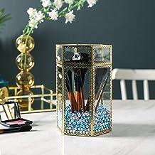 Elegant Makeup Brush Holder, Clear Glass Makeup Organizer, Gold Makeup Brush Storage with Lid, Free Pearls