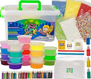 EZ Slime Kit- Boys Girls Everyone. Crystal Slime, Fluffy Clay Slime, Fake Snow, Glow Powder, Thermal Powder, Foam Beads, Glitter, Plus More. 60 Piece Kit. Over 3 Pounds