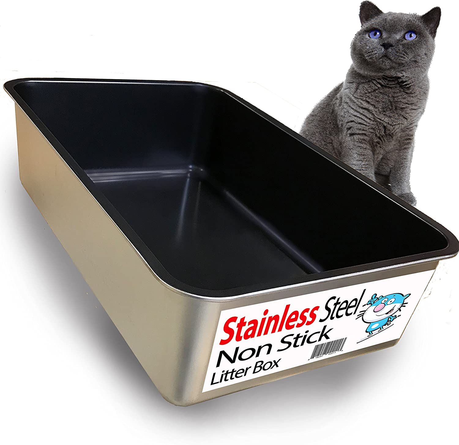 iPrimio Cat Super popular specialty store Litter Box Non-Stick Max 86% OFF Plated Stainless Steel Litte XL