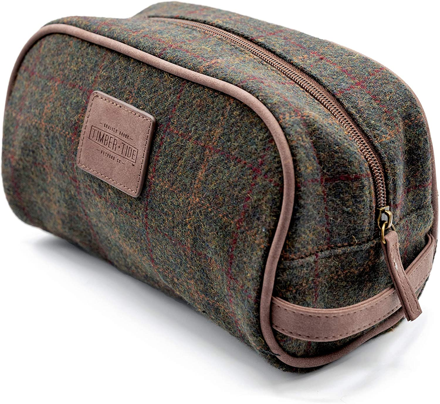Vintage Free shipping Special sale item Plaid Men's Toiletry Shaving Portable Canvas Trave Bag -