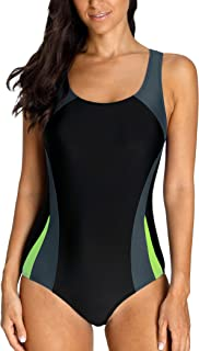 e5953af931594 Charmo Damen Sportlicher Einteiler Badeanzug Racer Back Schwimmanzug  Figuroptimizer Bademode mit Polsterung