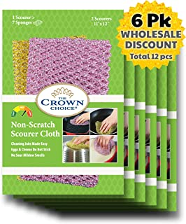Non-Scratch HEAVY DUTY Scouring Pad or Pot Scrubber Pads (12 PCs) | For Scouring Kitchen, Dishwashing, Cleaning | Nylon Mesh Scrubbing Scrubbies | Scrub Pads Cloth Outlast ANY Sponges