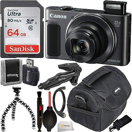 Canon PowerShot SX620 HS - Cámara digital con accesorios esenciales, color negro