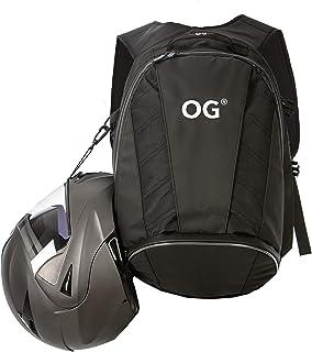 OG Online&Go EZ-RiderPRO Motorrad-Rucksack Schwarz Erweiterbar 28-35L, Motorradhelm-Tasche, Helm-Trageriemen, Wasserdicht, Laptop-Fach, Reflektierend, Weiss Logo