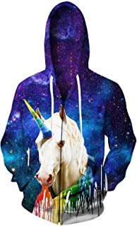 Leapparel Men/Women 3D Hoodie Full Zip Print Graphic Sweatshirts Pullover Casual Pocket Jacket